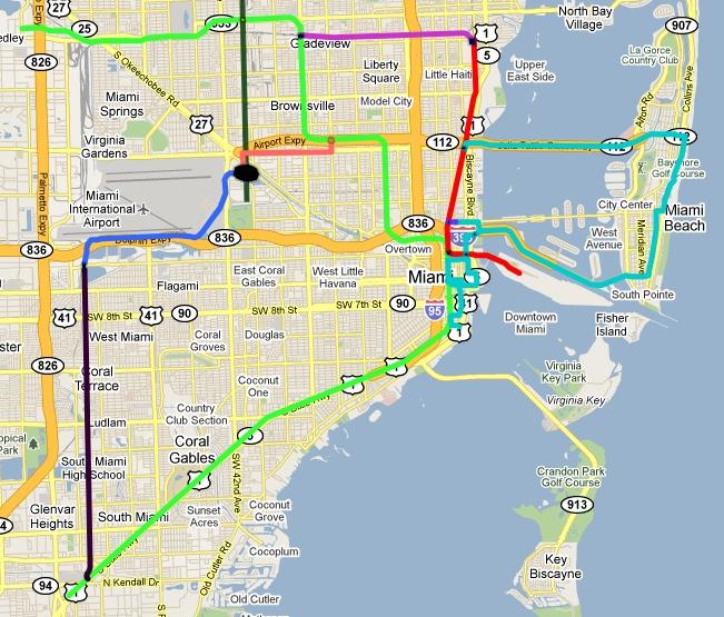 miami metro rail map metro map
