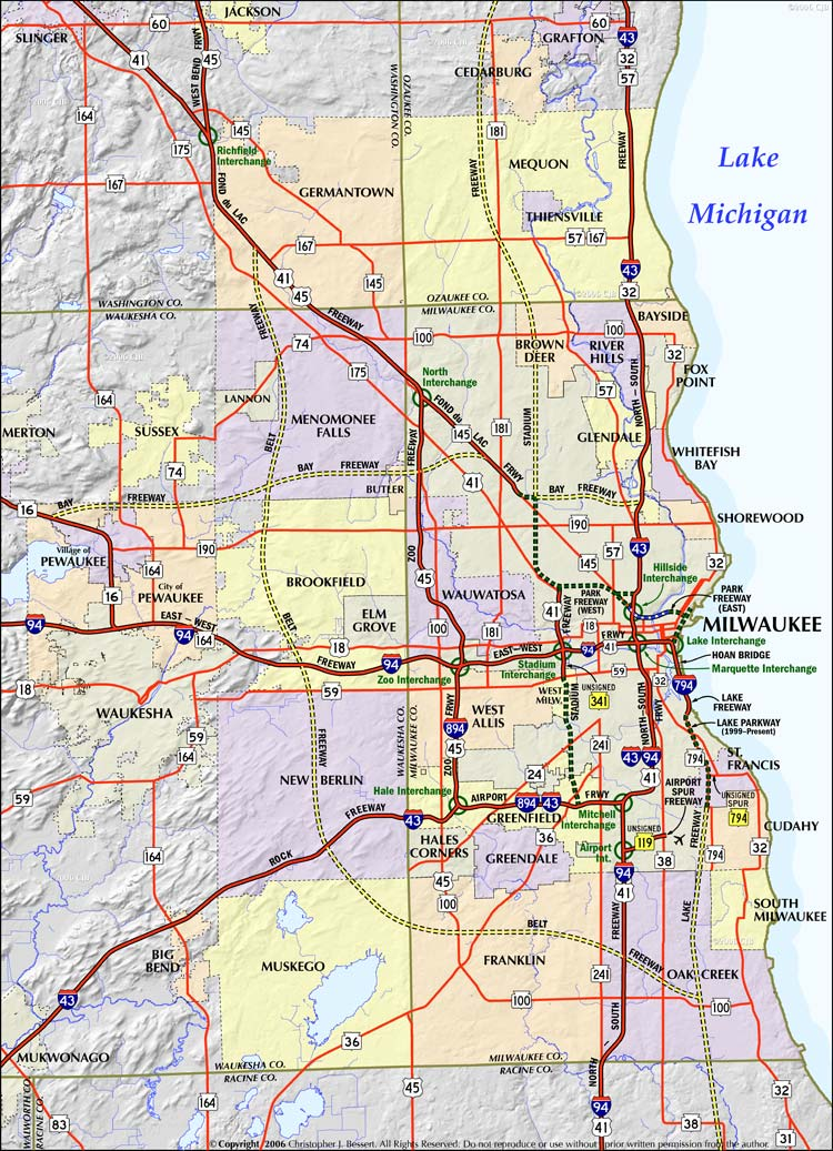 Alfa Img  Showing Gt Map Of Milwaukee Suburbs