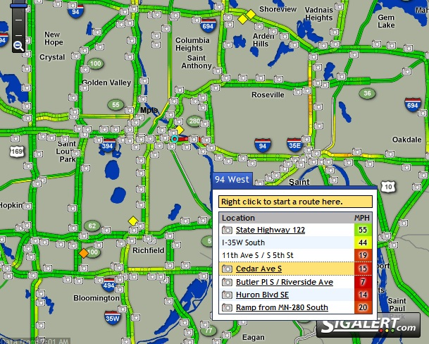 St Paul Traffic Map.Least Traffic Heavy Weekday Time Going S On 35e Minneapolis Home