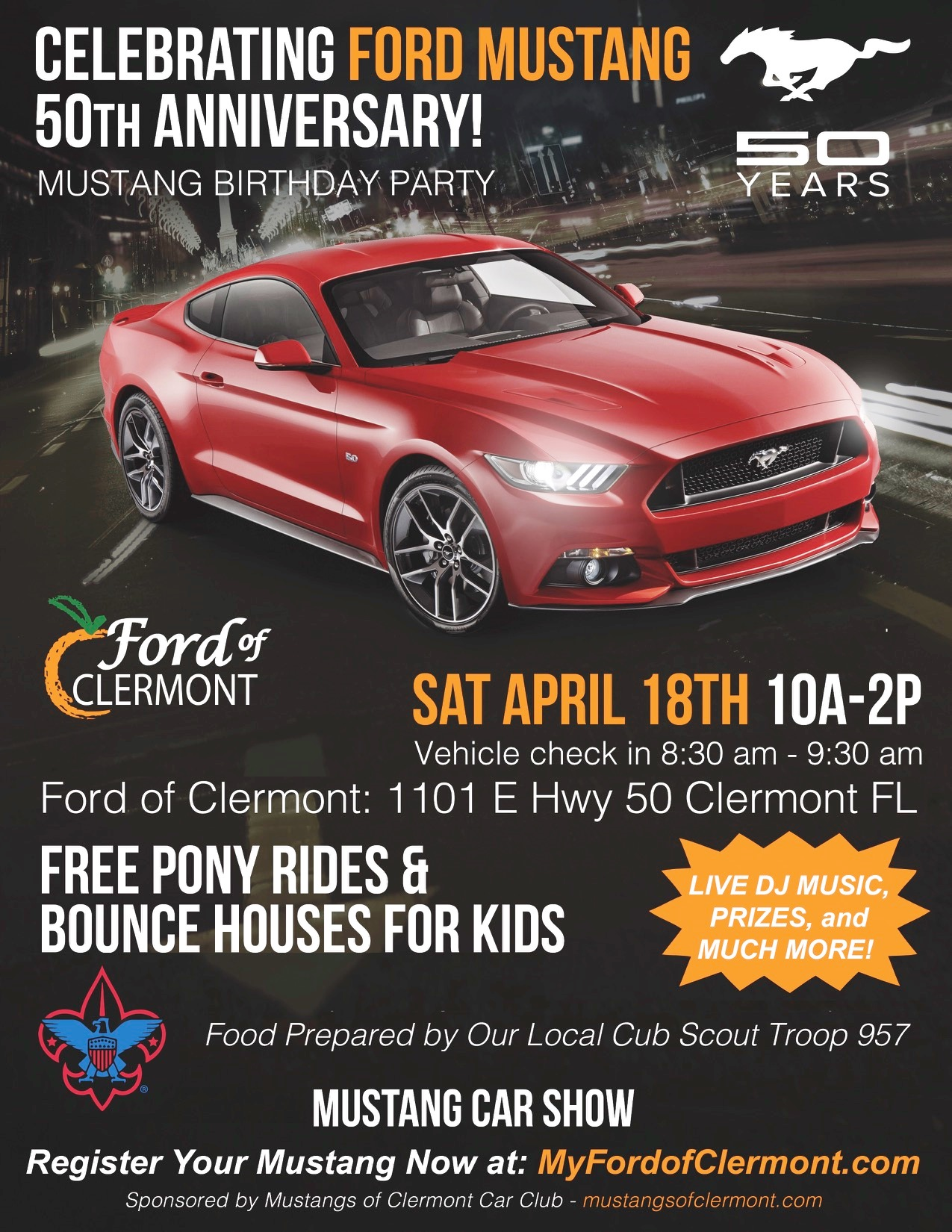 mustang 50th birthday party car show clermont celebration 2015 parking park orlando. Black Bedroom Furniture Sets. Home Design Ideas