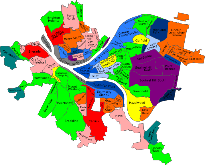 Attempt To Catagorize Official Pittsburgh Neighborhoods