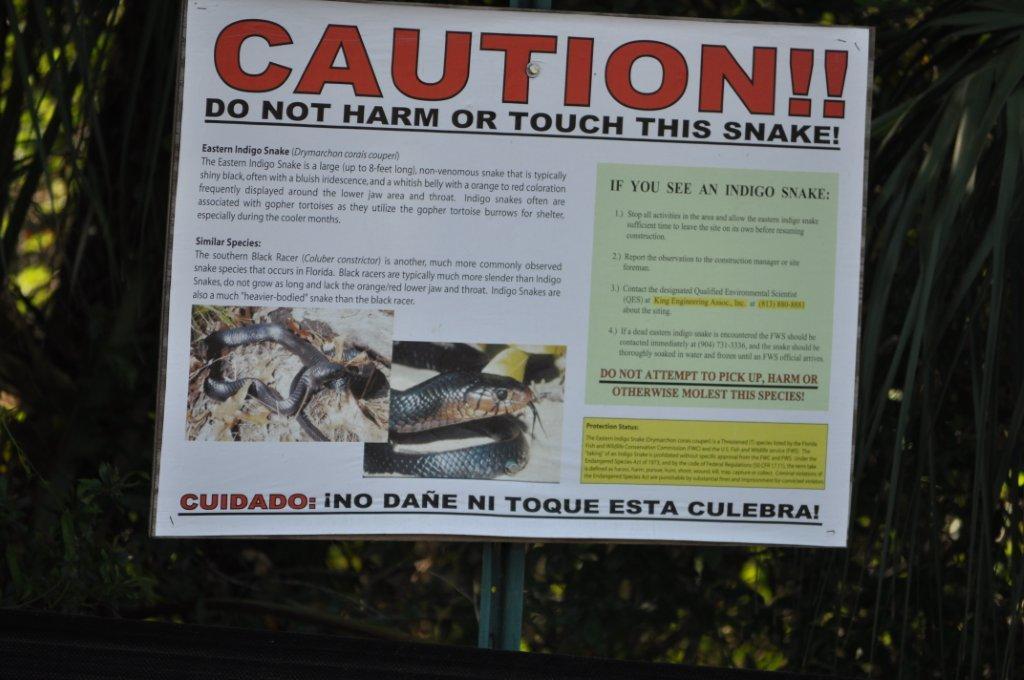 sign at model field  snake  near  run  - punta gorda - port charlotte - florida  fl