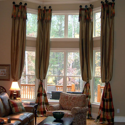Custom 2 story drapes curtains charlotte raleigh how High ceiling window treatments