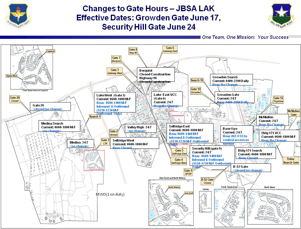 Lackland AFB Gate Hours Changes Center West Construction - Map us air force bases