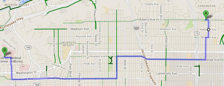 Bike Commute Route Suggestions Kensington To Hillcrest San Diego