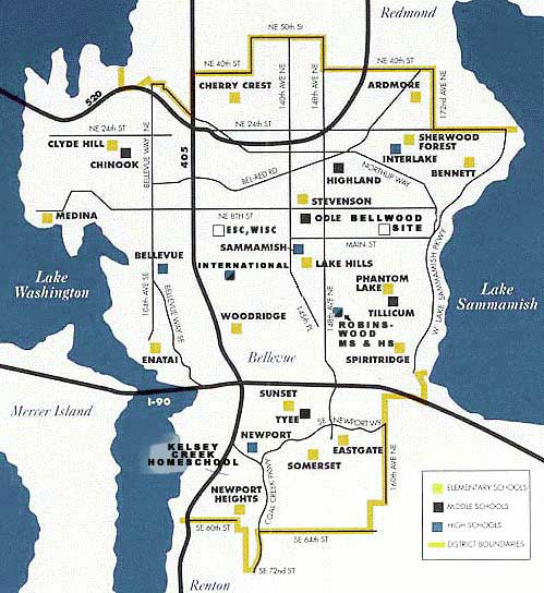 Is Newcastle part of Bellevue school district Kent Renton map