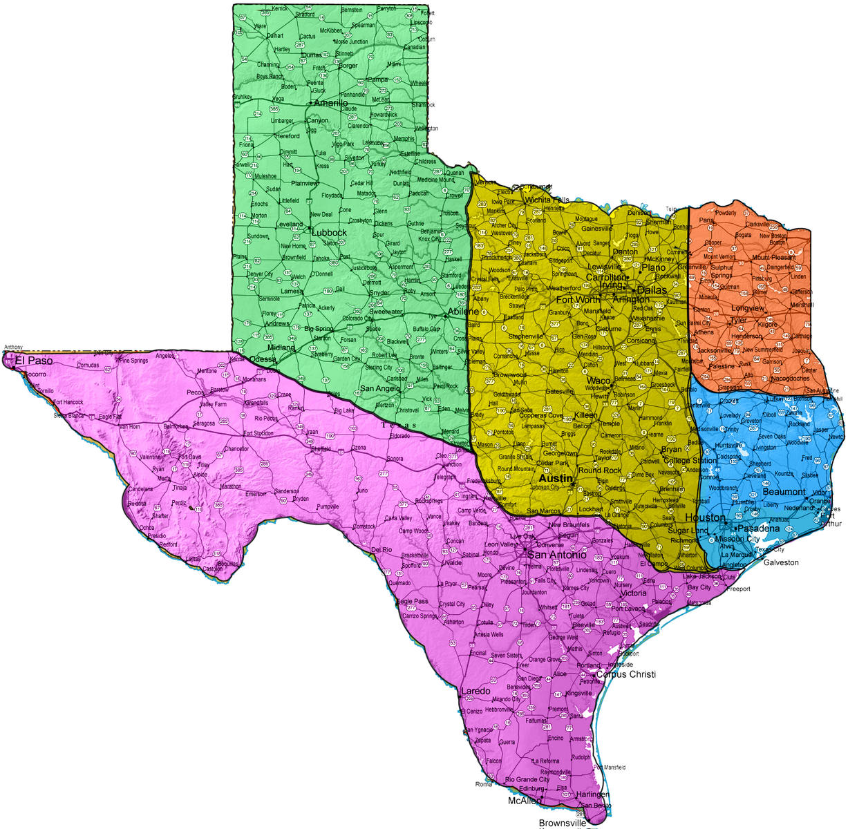 How Would Native Texans Divide Texas Houston Dallas Pine - Map of west texas