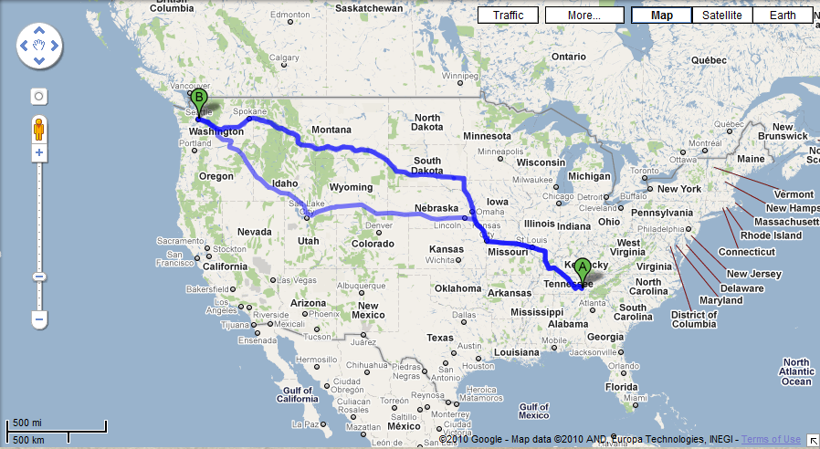 Best route from Dunlap TN to Seattle WA trip maps driving
