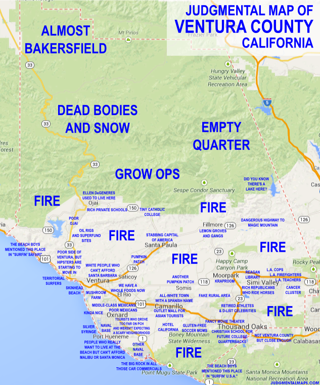 Judgemental map of Ventura County (Bakersfield, Ojai: oil ... on map of palm beach county cities, map of sonoma county cities, map of santa cruz county cities, map of milwaukee county cities, map of oakland county cities, map of tarrant county cities, map of jackson county cities, map of imperial county cities, map of pinellas county cities, map of contra costa county cities, map of fresno county cities, map of tulare county cities, map of orange county cities, map of san mateo county cities, map of kern county cities, map of broward county cities, map of san bernardino county cities, map of inyo county cities, map of el dorado county cities, map of stanislaus county cities,