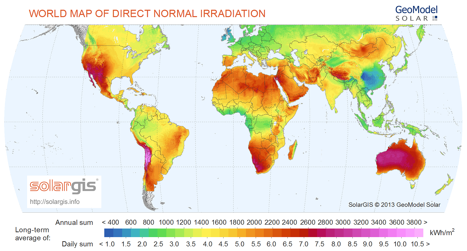 Solar irradiation map of the world cities America most sunny