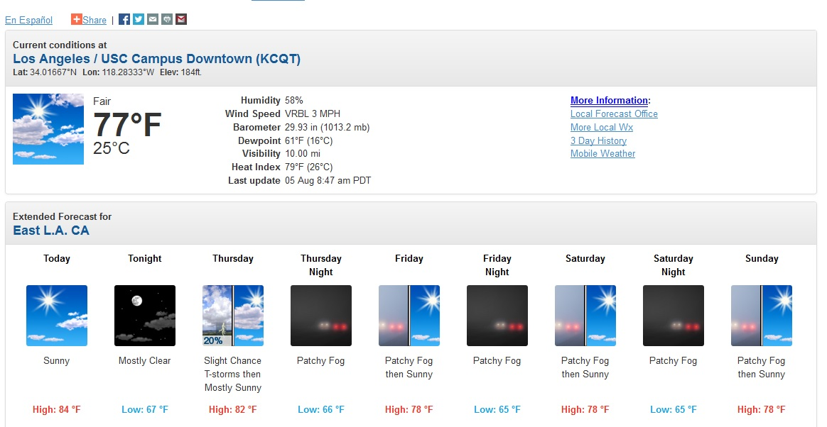 7 day weather forecast for los angeles
