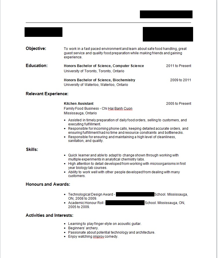 resume for first job