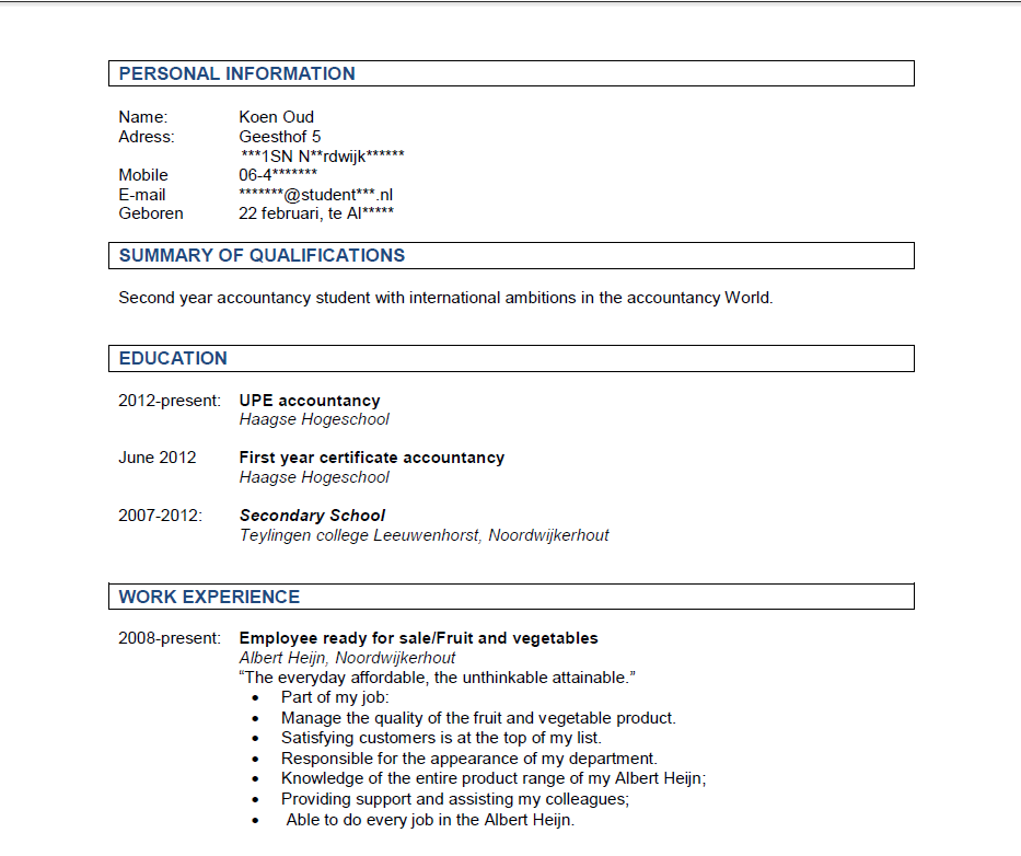 resume of a foreigner accountant  employment  credit