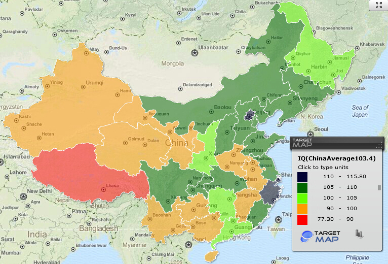 China IQ map by provinces - 8-10 years old children have ...