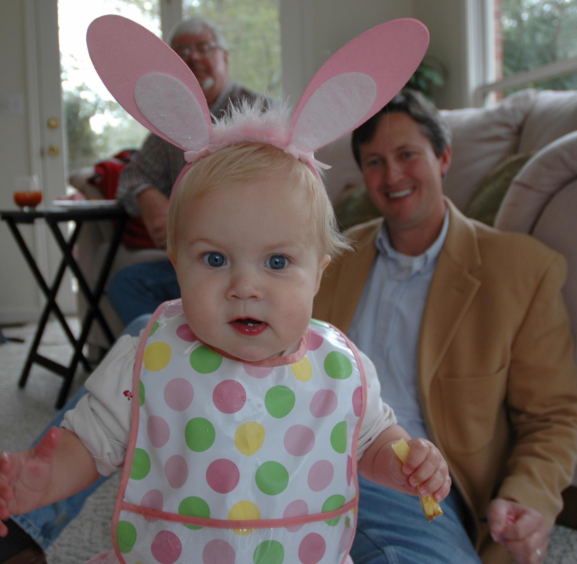 That's Rachel in bunny ears (2007).