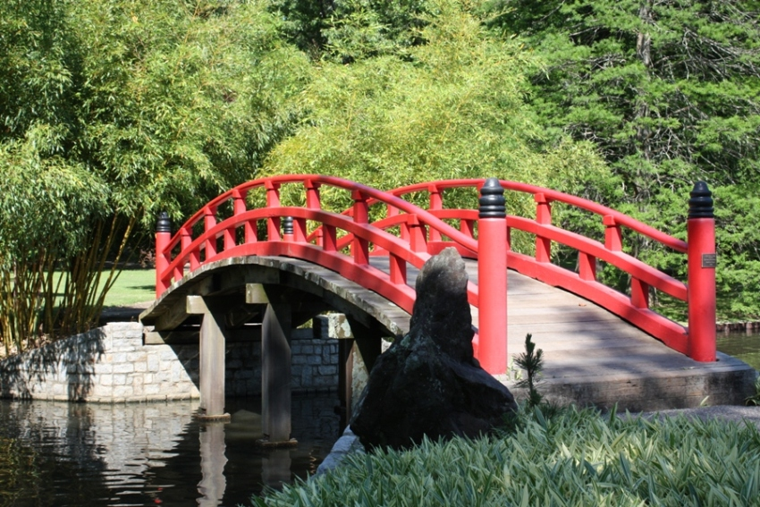 japanese garden bridge at memphis botanical garden - Red Japanese Garden Bridge
