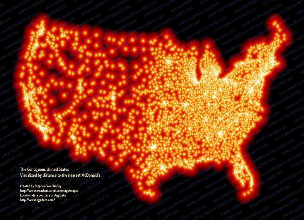 Map showing distance to every McDonalds in the US (restaurant ...