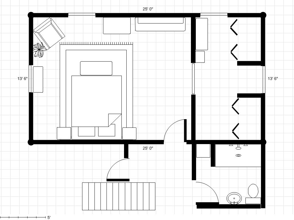 Adding a bathroom to a master bedroom dressing area try 2 for Area of a floor plan