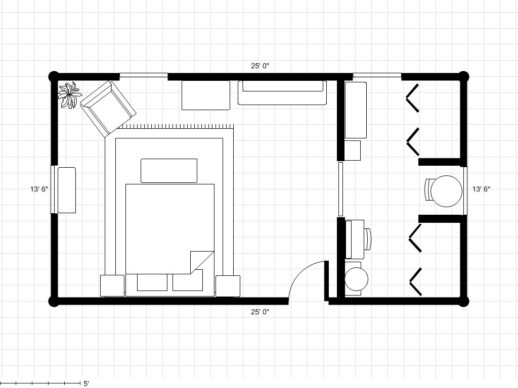 Adding A Bathroom To A Dressing Area With Room Plan Floor