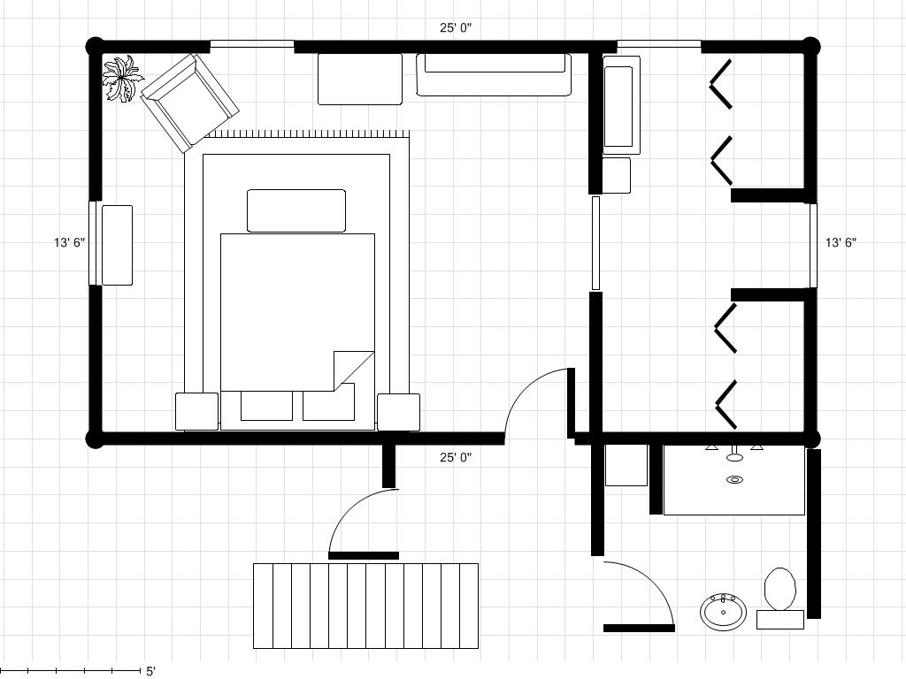 Adding a bathroom to a dressing area with room plan for Master bedroom and bath plans