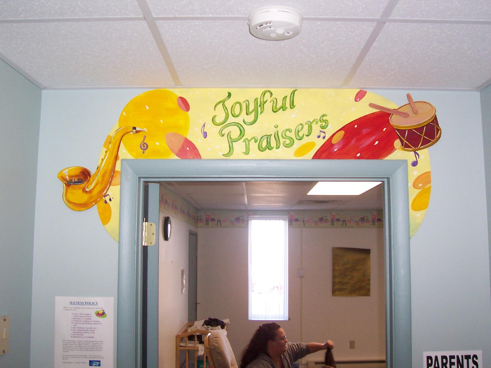 Sunday school wall murals for Classroom mural ideas