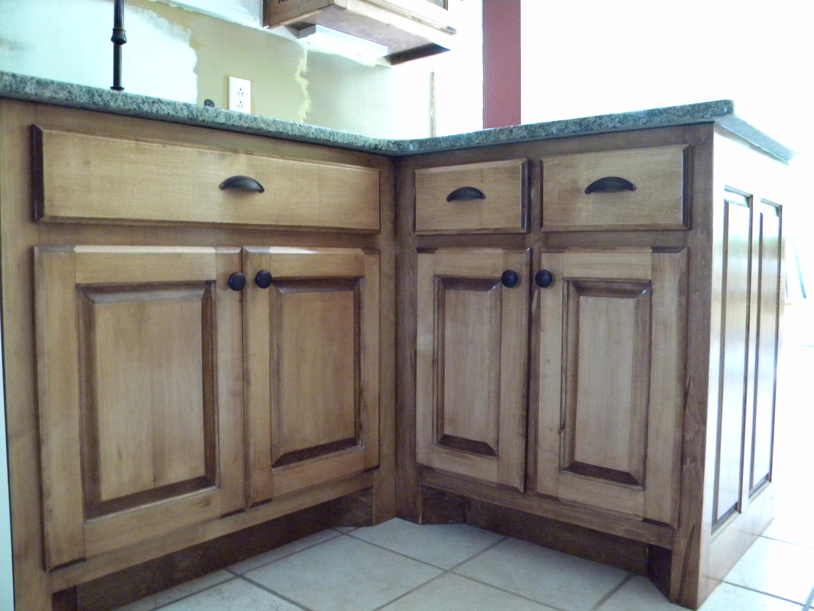 Dark Stained Maple Kitchen Cabinets With Granit Countertop Pictures to