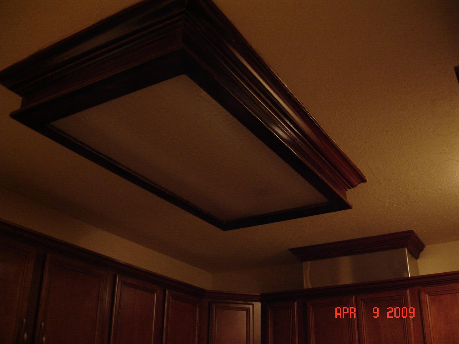 Replacing Fluorescent Light With Recessed Floor Counters Ceiling - Kitchen ceiling light box