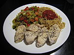 Chicken Breast with Mixed Vegetables and Whole Grain Pasta