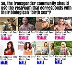 "Transgender community using restrooms corresponding with the biological ""birth"" sex??? Is that what you really want?"