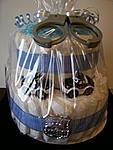 Police themed 2 tiered diaper cake