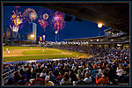 Tulsa Drillers Tulsa skyline with fire works Tulsa drillers picture great event for family fun in Tulsa.