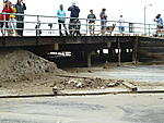 The surge came to the top of the pier, which is 7ft above sea level.