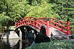 Red Bridge in Japanese Garden at Memphis Botanical