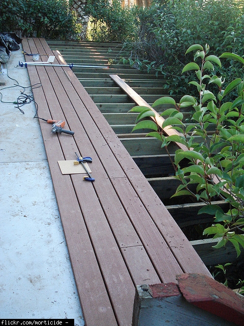 Deck help trex vs choicedek lowes colors installed for Evergrain decking vs trex