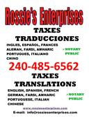 Rossie's Enterprises Certified Translations in Maryland