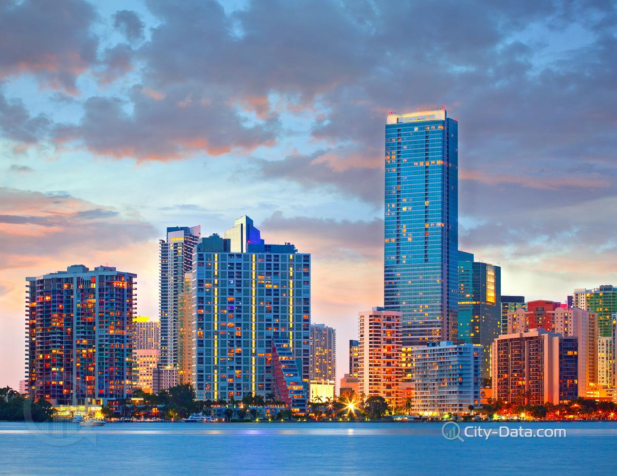 Illuminated Buildings In Miami