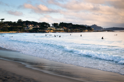 Carmel Beach California Is Located West Of S Coastal Highway Hwy 1 At The End Ocean Avenue In Monterrey County Town
