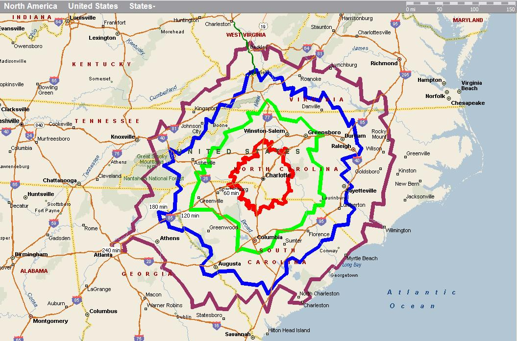 Driving Time Map Driving distances/times from charlotte (Wilmington, Star: beach