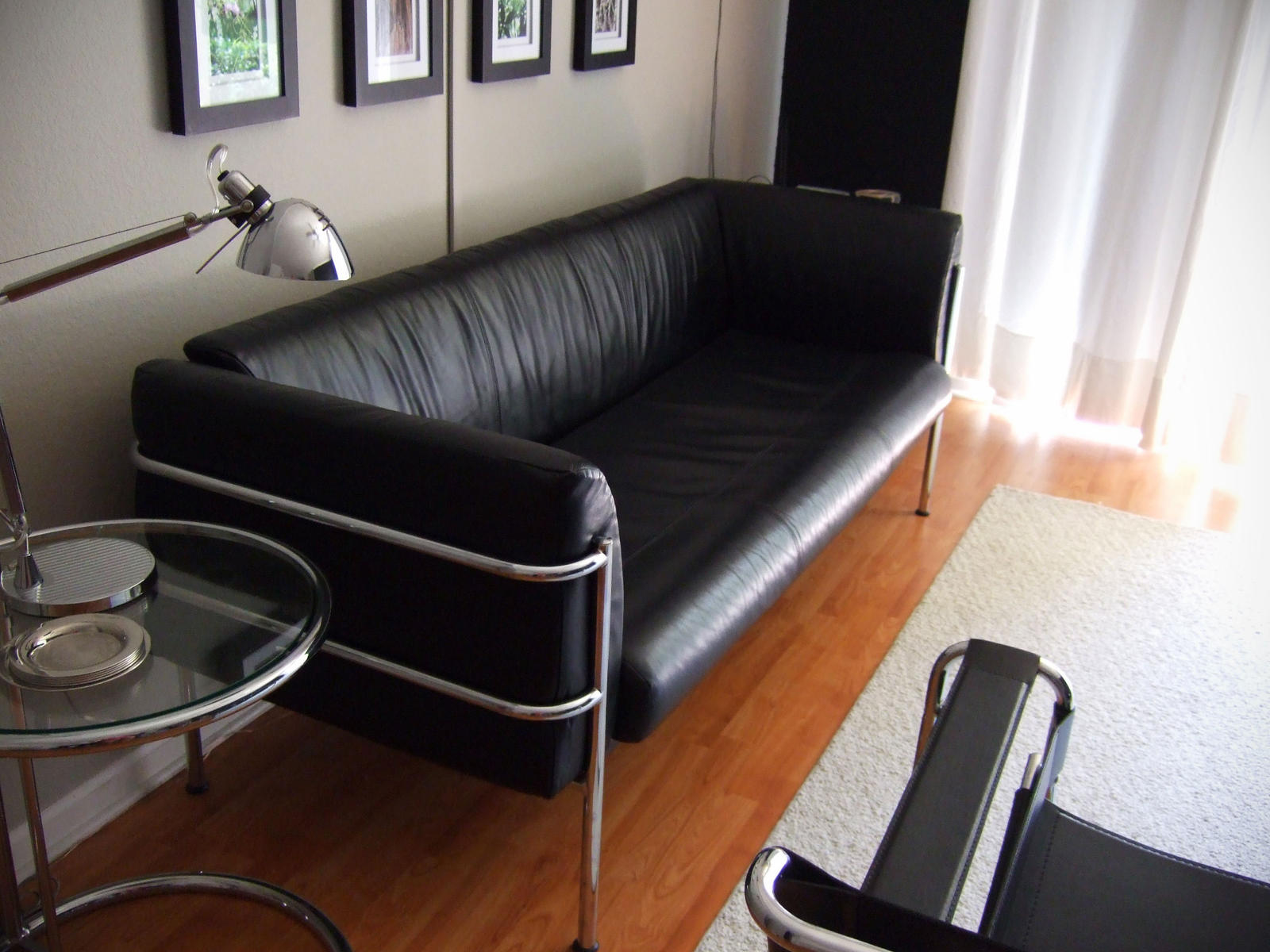 Modern Contemporary Black Leather Sofa & Wassily Chair for SALE
