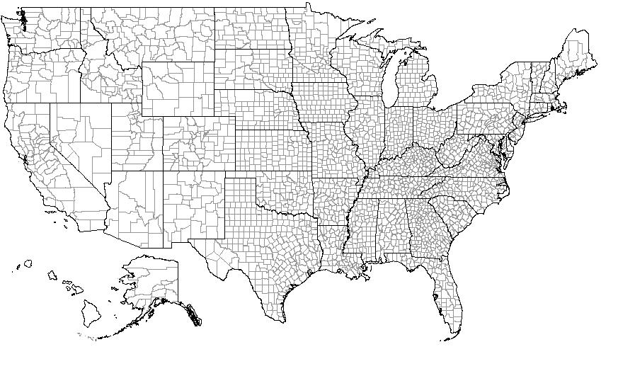 United States Counties map (home, living, beach) - General ...