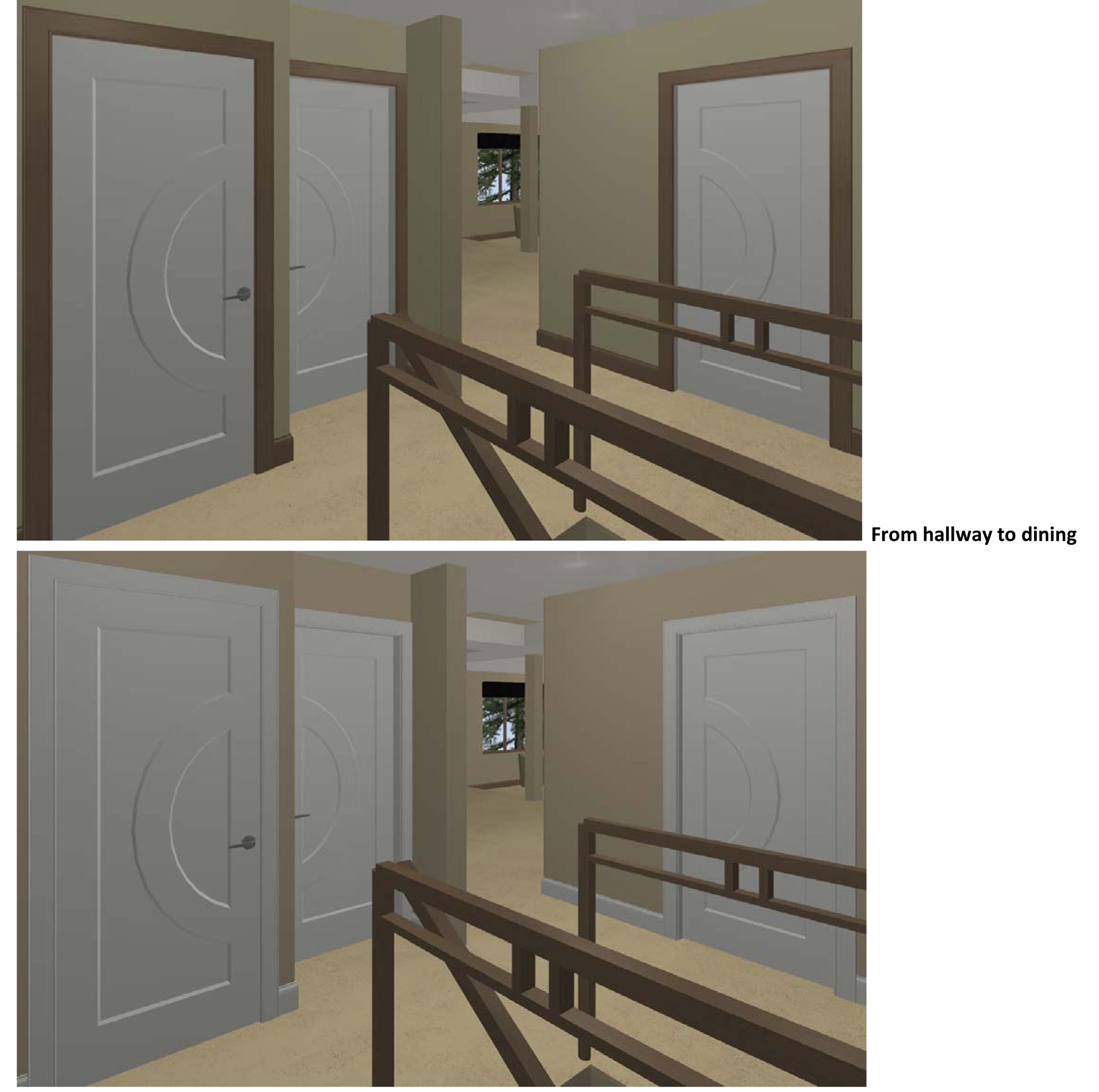 Stained Trim And Painted Doors Renderings Attached View From Hallway Jpg