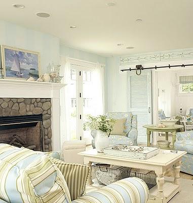 Brown Leather Sofa Blue And White Plaid Chair Coastal