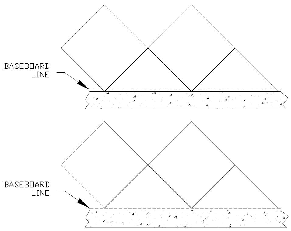 Layout For A Tiling With Diagonal Pattern Baseboard Jpg