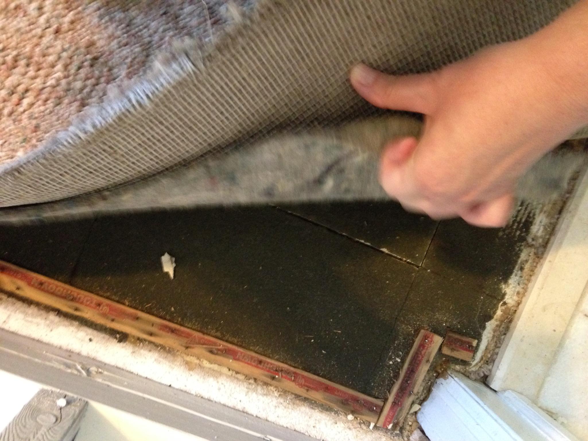 under carpet? (Hope: house, asbestos