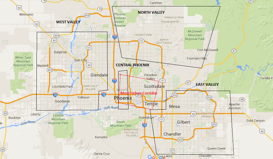 phoenix west valley map Locations Of East Valley West Valley Etc Phoenix Scottsdale phoenix west valley map
