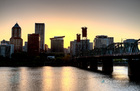 Sunset portland skyline