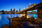 Portland oregon city skyline along willamette river